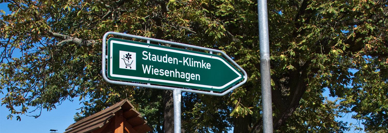 Bild Wegweiser zu Stauden-Klimke in Wiesenhagen (OT von Trebbin)